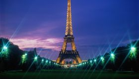 France, Paris, Eiffel Tower illuminated EDITORIAL USE ONLY