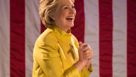 Hillary Clinton at a campaign rally in sunset park. Hillary...