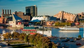 Panoramic view of Baltimore Inner Harbor, Maryland, shot from Federal Park Hill