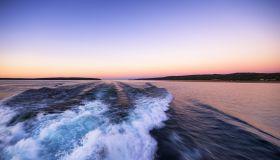 USA, Michigan, Lake superior, boat wake