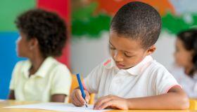 Portrait of a boy coloring at school