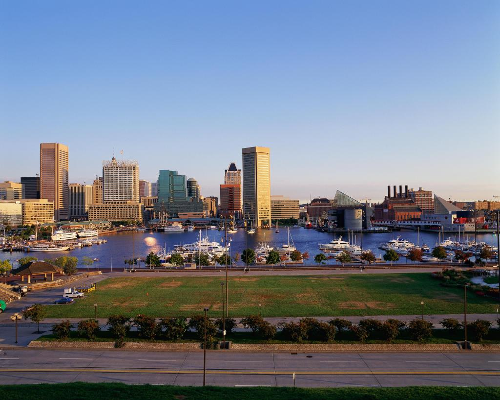 Baltimore harbor and skyline, MD
