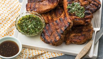 Pork Steaks with Chimichurri and Balsamic Fig Glaze