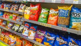 Shelves of snacks for sale inside Walgreens at Cocoa Beach.