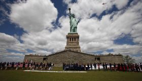 Million Rose Pedals Dropped Over Statue Of Liberty Commemorating 70th Anniversary Of D-Day